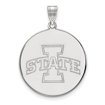 Iowa State University 14k White Gold Extra Large Disc Pendant | Logo Art | 4W042IAS