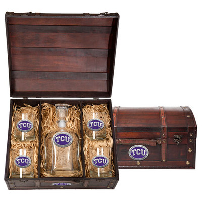TCU Horned Frogs Capitol Decanter Chest Set | Heritage Pewter | CPTC10270EP