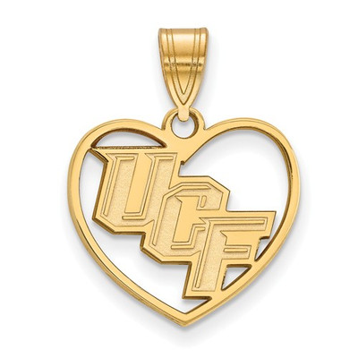 University of Central Florida Sterling Silver Gold Plated Heart Pendant | Logo Art | GP013UCF