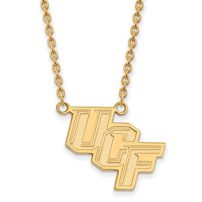 University of Central Florida 14k Yellow Gold Large Pendant Necklace | Logo Art | 4Y012UCF-18