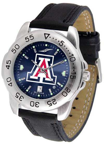 Arizona Wildcats Men's Sport Leather AnoChrome Watch | SunTime | ST-CO3-AZW-SPORT2-A
