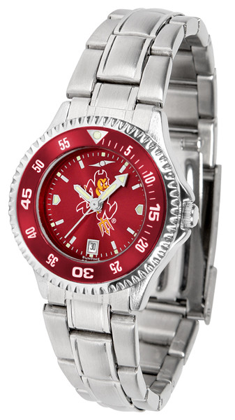 Arizona State Sun Devils Ladies Competitor Steel AnoChrome Watch with Color Bezel | SunTime | ST-CO3-ASD-COMPLM-AC