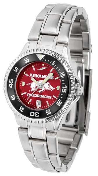 Arkansas Razorbacks Ladies Competitor Steel AnoChrome Watch with Color Bezel | SunTime | ST-CO3-ARR-COMPLM-AC
