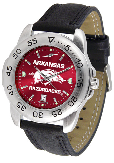Arkansas Razorbacks Men's Sport Leather AnoChrome Watch | SunTime | ST-CO3-ARR-SPORT2-A