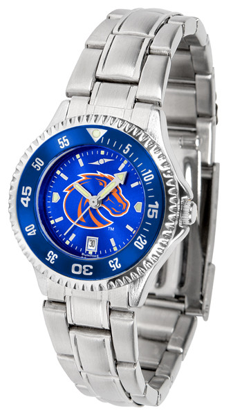 Boise State Broncos Ladies Competitor Steel AnoChrome Watch with Color Bezel | SunTime | ST-CO3-BSB-COMPLM-AC
