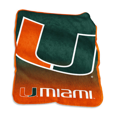 Miami Hurricanes Logo  Raschel Throw Blanket | Logo Chair | 169-26A