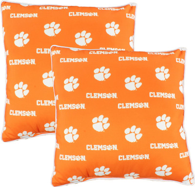 """Clemson Tigers 16"""" x 16"""" Decorative Pillow Pair 