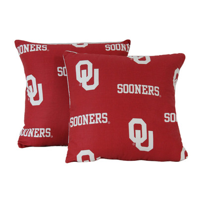 """Oklahoma Sooners 16"""" x 16"""" Decorative Pillow Pair 