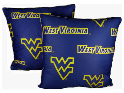 "West Virginia Mountaineers 16"" x 16"" Decorative Pillow Pair 