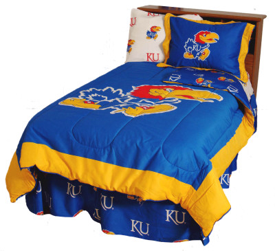 Kansas Jayhawks Reversible Comforter Set - QUEEN | College Covers | KANCMQU