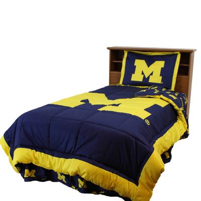 Michigan Wolverines Reversible Comforter Set - KING   College Covers   MICCMKG