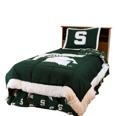 Michigan State Spartans Reversible Comforter Set - QUEEN | College Covers | MSUCMQU