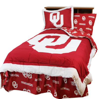 Oklahoma Sooners Reversible Comforter Set - KING | College Covers | OKLCMKG