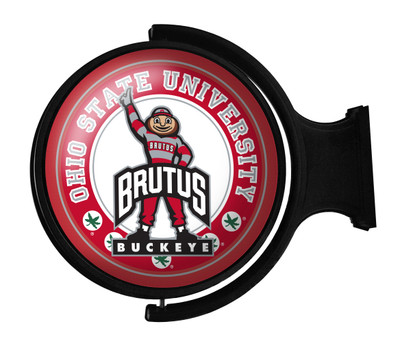 Ohio State Buckeyes Rotating Illuminated LED Wall Sign-Round Brutus | Grimm Industries | OS-115-02