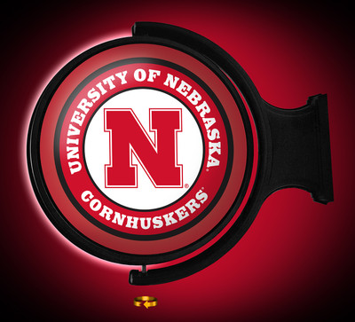 Nebraska Huskers Rotating Illuminated LED Wall Sign-Round Logo |Grimm Industries | NB-115-01