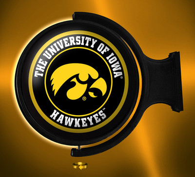 Iowa Hawkeyes Rotating Illuminated LED Wall Sign-Round Tigerhawk |Grimm industries | IA-115-01