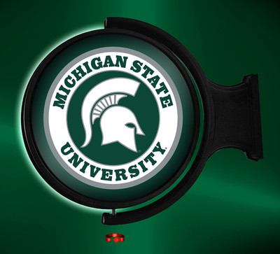 Michigan State Spartans Rotating Illuminated LED Wall Sign-Round Logo |Grimm Industries | MS-115-01