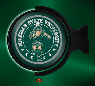 Michigan State Spartans Rotating Illuminated LED Wall Sign-Round Sparty |Grimm Industries | MS-115-02