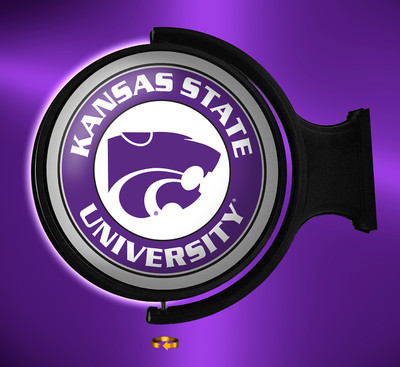 Kansas State Wildcats Rotating Illuminated LED Wall Sign-Round Logo 2 | Grimm Industries /|KS-115-02