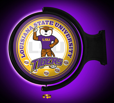 LSU Tigers Rotating Illuminated LED Wall Sign-Round | Grimm Industries | LS-115-02