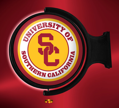 USC Trojans Rotating Illuminated LED Wall Sign-Round Logo | Grimm Industries |US-115-01