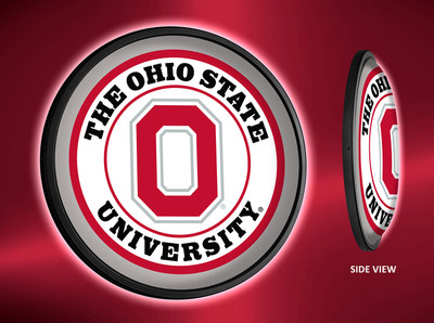 Ohio State Buckeyes Slimline Illuminated LED Wall Sign-Round-Block O |Grimm Industries | OS-130-01