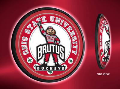 Ohio State Buckeye Slimline Illuminated LED Wall Sign-Round-Brutus | Grimm Industries | OS-130-02