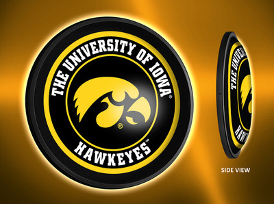 Iowa Hawkeyes Slimline Illuminated LED Wall Sign-Round-Tigerhawk | Grimm Industries | IA-130-01