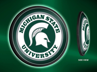 Michigan State Spartans Slimline Illuminated LED Wall Sign-Round-Primary Logo |Grimm Industries | MS-130-01