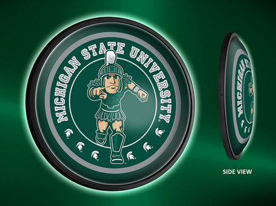 Michigan State Spartans Slimline Illuminated LED Wall Sign-Round-Sparty |Grimm Industries | MS-130-02