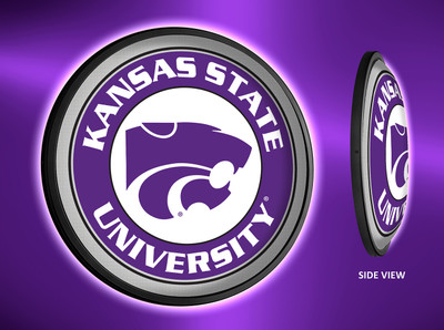 Kansas State Wildcats Slimline Illuminated LED Wall Sign-Round | Grimm Industries | KS-130-02