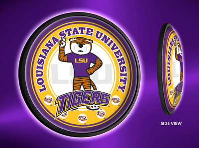 LSU Tigers Slimline Illuminated LED Wall Sign-Round-Mike | Grimm Industries | LS-130-02