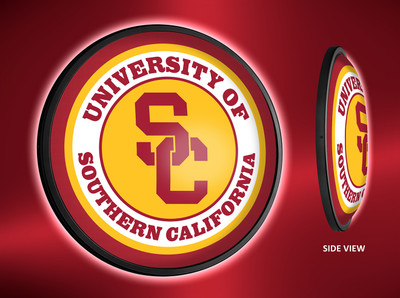 USC Trojans Slimline Illuminated LED Wall Sign- Round-Logo | Grimm Industries | US-130-01