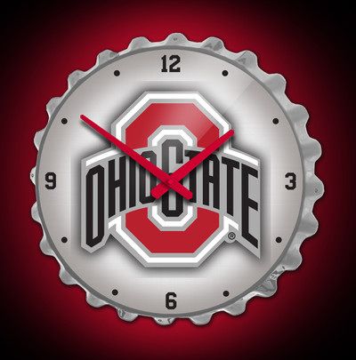 Ohio State Buckeyes  Bottle Cap Wall Clock- Logo Silver | Grimm Industries | OS-540-01