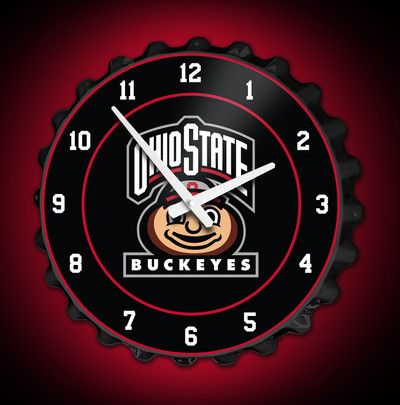 Ohio State Buckeyes  Bottle Cap Wall Clock-Brutus  | Grimm Industries | OS-540-04