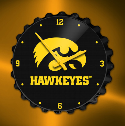 Iowa Hawkeyes  Bottle Cap Wall Clock-Tigerhawk | Grimm Industries | IA-540-01
