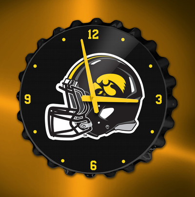 Iowa Hawkeyes  Bottle Cap Wall Clock-Helmet | Grimm Industries | IA-540-02