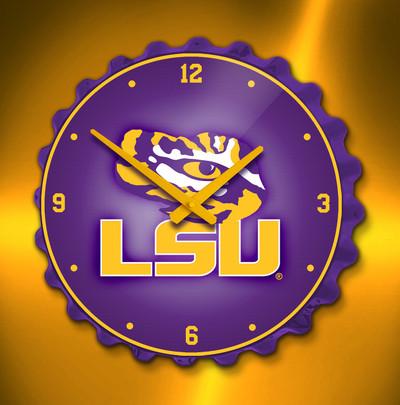 LSU Tigers Bottle Cap Wall Clock-Primary Logo | Grimm Industries | LS-540-01