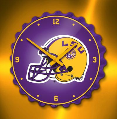 LSU Tigers Bottle Cap Wall Clock-Helmet | Grimm Industries | LS-540-02