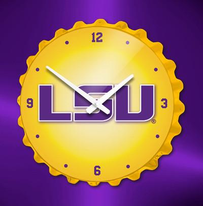 LSU Tigers Bottle Cap Wall Clock-Block  | Grimm Industries | LS-540-03