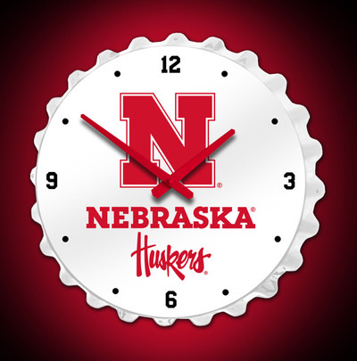 Nebraska Huskers Bottle Cap Wall Clock | Grimm Industries | NB-540-01