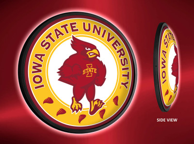 Iowa State Cyclones Slimline Illuminated LED Wall Sign-Round Cardinal | Grimm Industries | IS-130-02
