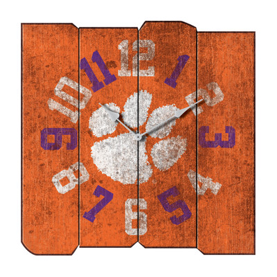 Clemson Tigers Vintage Square Wall Clock | Imperial International | 371-3043