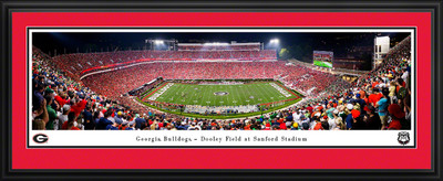 Georgia Bulldogs Stadium Panoramic Photo Deluxe Matted Frame | Blakeway | UGA6D