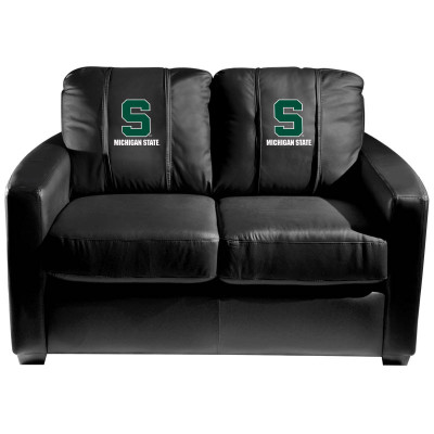 Michigan State Spartans  Silver Love Seat with Secondary logo | Dreamseat | XZ7759003LSCDBK-PSCOL13221