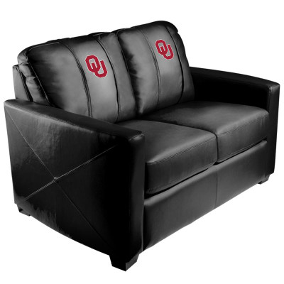 Oklahoma Sooners  Silver Love Seat with Red Logo with White Outline | Dreamseat | XZ7759003LSCDBK-PSCOL11044