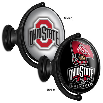 Ohio State Buckeyes Rotating Illuminated LED Team Spirit Wall Sign-Oval-Bubble--2 Sided | Grimm Industries |OS-125-03