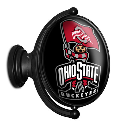 Ohio State Buckeyes Rotating Illuminated LED Team Spirit Wall Sign-Oval-Bubble-Primary Logo Silver | Grimm Industries |OS-125-02