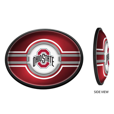Ohio State Buckeyes Slimline Illuminated LED Team Spirit Wall Sign-Oval--Primary Logo on Red | Grimm Industries |OS-140-01