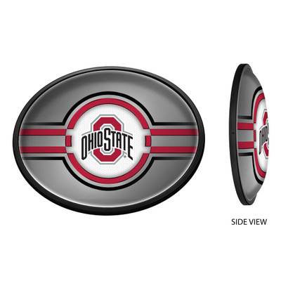 Ohio State Buckeyes Slimline Illuminated LED Team Spirit Wall Sign-Oval--Primary Logo on Silver | Grimm Industries |OS-140-02
